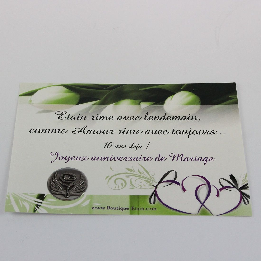 carte anniversaire 10 ans de mariage noces d tain. Black Bedroom Furniture Sets. Home Design Ideas