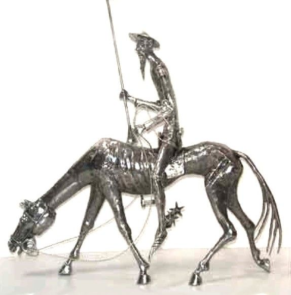 Grand Don Quichotte sur Rossinante en tain H52cm